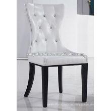 Silla de comedor tapizada de cuero blanco XYD006