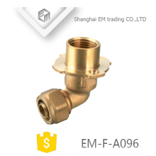 EM-F-A096 90 graus cotovelo mangueira de latão rosca macho tubo de flange de compressão