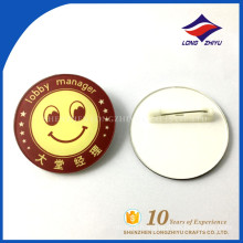 Custom printing lobby manager round plastic name badge with safe pin