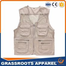 Custom Chinese Wholesale Alibaba Men′s Outdoor Multifunction Multi-Pocket Pierced Fishing Vest Photo Journalist′s Photographer Vest