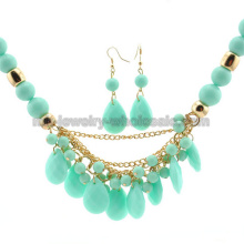 Acrílico clásica ronda encantos perlas collar de perlas