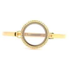 """Новый нержавеющей стали 7""""-8"""" 30мм кристалл золото стекло памяти плавающей очарование медальон твист водонепроницаемый мужские браслеты bangle"""