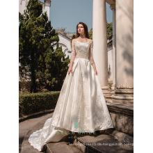Reizvolle Spitzehochzeitskleider pakistanische Brautkleid-lange Hülse islamische Hochzeitskleider ohne hijab