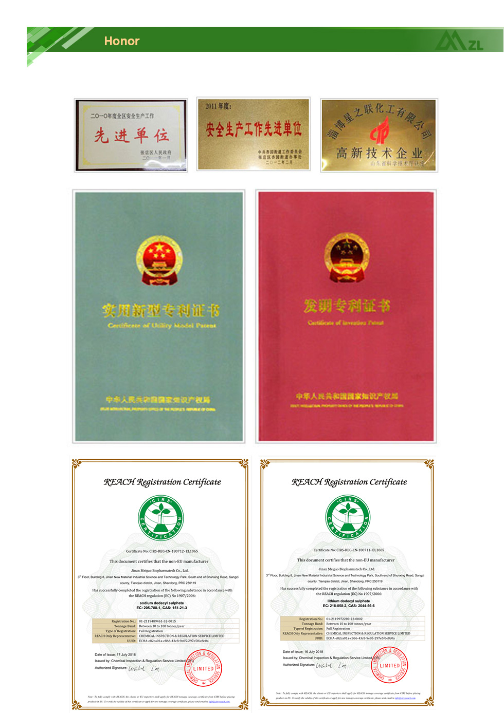 Daily Chemical Raw Materials certificate