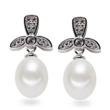 Boucle d'oreille en perles d'eau douce naturelle en argent sterling