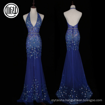 Floral design elegant blue sexy bare back sequin pronm evening dresses