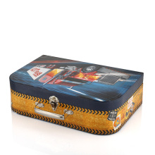 Kids paper suitcase box with handle custom logo foldable toy storage box suitcase