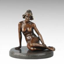 Nackte Figur Statue Sitzen Dame Bronze Skulptur TPE-705