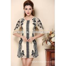 Vestido de moda para mulheres Vestido de vestido elegante e elegante Vestido bordado