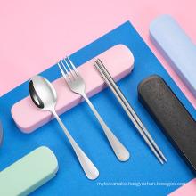 3pcs/set Stainless Steel Cutlery Set Travel Portable Box Fork Spoon Chopsticks Kitchen Tableware Dishes Sets Dinnerware