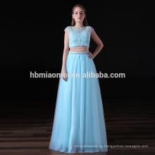 2017 последняя конструкция роскошные платья невесты 2шт комплект кружевной светло-синий платья невесты длинные