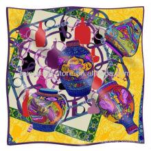 Bufanda de seda Nuevo diseño de florero Gran bufanda de seda cuadrada