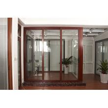 Portas deslizantes de alumínio de dupla janela de prova de som e térmicas
