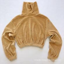 Ladies' hot sale velvet fancy top sweater shirt