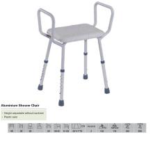 Cadeira de chuveiro de alumínio com alto braço