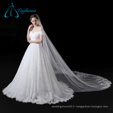 White Cathedral Lace Appliques Fleurs Soft Tulle Long Wedding Veil