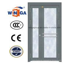 Classic Grey Color Entrance Security Metal Steel Glass Door (W-GD-24)
