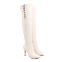 Over The Knee Boots Breathable Knee High Boot Women Waterproof Booties Women Boot Heels Boots Ladies Winter Dress Leather Shoes
