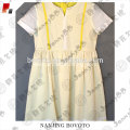 Yellow lined white cute casual children dress