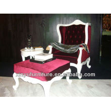Royal and Luxury upholstered arm chair with stool XYD468