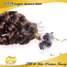 Hot Loose Curly Remy Human Hair Extensions Easy Loop Micro Rings Tipped Hair Extensions