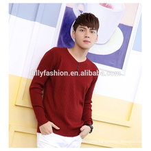 Fashion knit 1/4 buttons v-neck sweater mens pullover sweatshirt