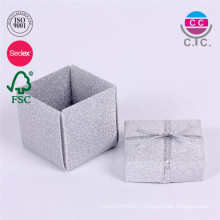 hot selling set of 2 paper ring box with silk ribbon