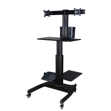 """Mobile Computer Workstation Gas Lift/Trolley Single Monitor 10-24"""" Adjustable (GAS 1602)"""