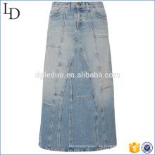 Venta caliente nueva falda de mezclilla en línea al por mayor suave larga al por mayor