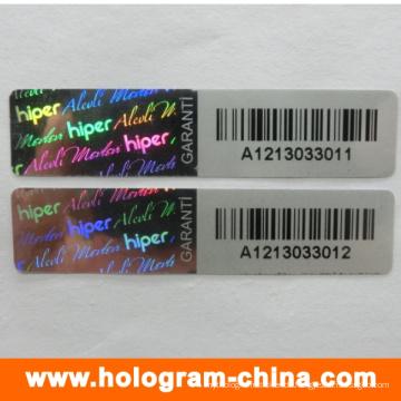 Schwarze Seriennummer Tamper Evident Hologramm Aufkleber
