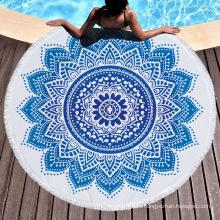 custom logo  wholesale circlr round 3D printed turkish kids designer organic cotton boho beach towel towels