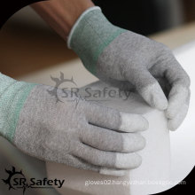 SRSAFETY Anti-static PU gloves/13 gauge PU coated finger working glove