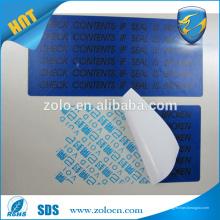 VACÍO Etiquetas de la etiqueta engomada de la contra-falsificación Etiqueta de la etiqueta de la etiqueta de la garantía de las etiquetas del rodillo