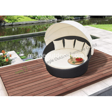 Outdoor Garden Wicker Bed Rounded Sunbed with Canopy