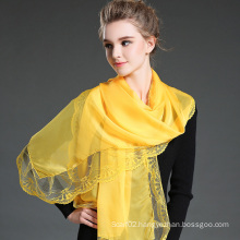 Yellow Polyester Chiffon Scarf Lace Shawls for Women