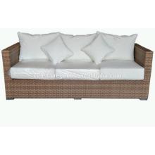 Горячая конструкция wicker комфорта 3-местный диван из ротанга с свободно сопрягая