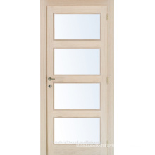 Unfinished interior oak veneered composite wooden glass door