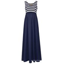 Kate Kasin Women's Striped Patchwork Sleeveless U-Neck Maternity Maxi Tank Dress KK000676-1