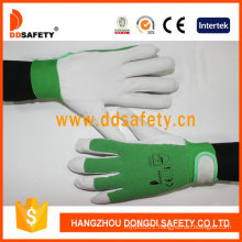 Ddsafety Pig Grain Leather Green Elastic Cotton Back Wrist with Velcro Fastener