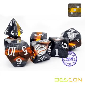 Bescon Mineral Rocks GEM VINES Polyhedral D&D Dice Set of 7, RPG Role Playing Game Dice 7pcs Set of AMBER