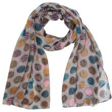 Мода полиэстер вуаль шарф с цветной горошек напечатано (YKY4224)