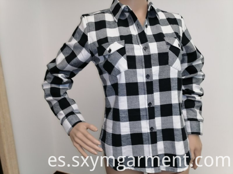 Ladies cotton y/d check flannel blouse