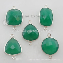 925 Sterling Silver Natural Green Onyx Gemstone Bezel Setting Connector