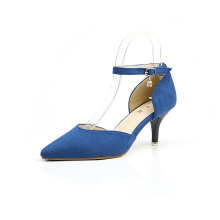 Wanita Suede Leather Heel Middle Pumps Shoes