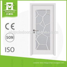 High quality white color interior wooden door with glass