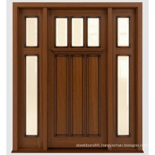 Traditional Stained Front Solid Mahogany Wooden Doors Design with Glass