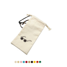Custom logo white small drawstring glasses pouch organic cotton cloth eyeglasses sunglasses bags