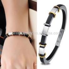 2015 nouveaux cordons en silicone et en acier inoxydable de haute qualité Bracelet de charme Bracelet pour homme Bracelet de chaîne PH840