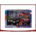 DIY Spielzeug Strand Polizei Rescue Team Spielzeug mit Platte Anhänger, Pull Line Spielzeug Flugzeug und Reibung Spielzeug Autos