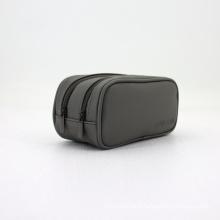 Logo Debossed Double Zipper Closure Plastic Makeup Bag Customised Bag Saffiano Cosmetic Bag